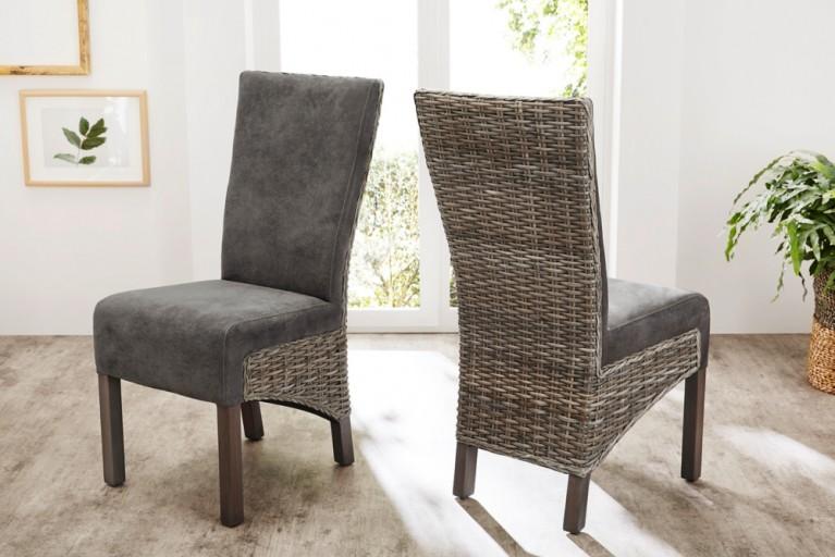 Moderner Stuhl FINCA Rattan antik grau mit Beinen aus massivem Mahagoni