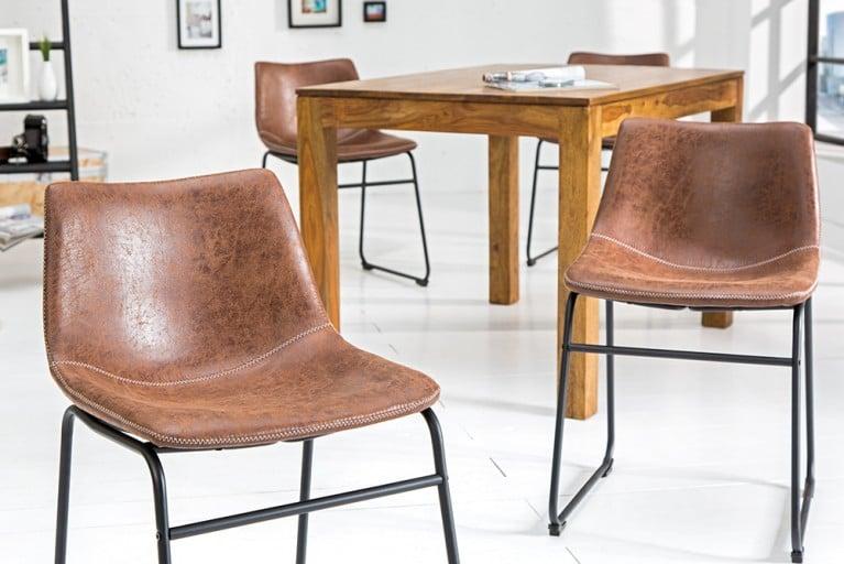 Design Stuhl DJANGO vintage braun mit Eisengestell