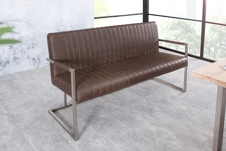 Echt Edelstahl Sitzbank BIG ASTON dark coffee 160cm Industrie Design