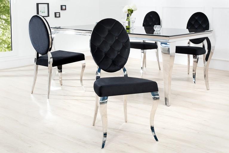 Stylischer Stuhl MODERN BAROCK schwarzer Samt  mit Knöpfen Edelstahl