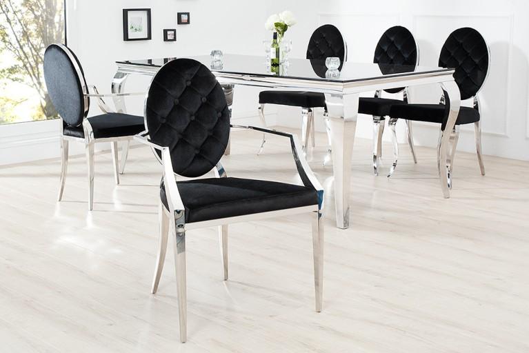 MODERN BAROCK Armlehnenstuhl Symbiose aus Edelstahl und hochwertigstem schwarzen Samt mit Knöpfen
