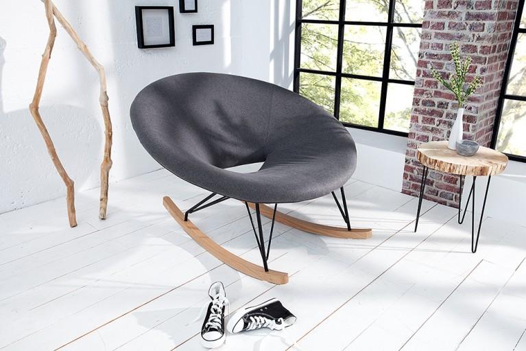 Moderner XXL Design Schaukelstuhl FLOATING grau Strukturstoff Eiche Relaxsessel