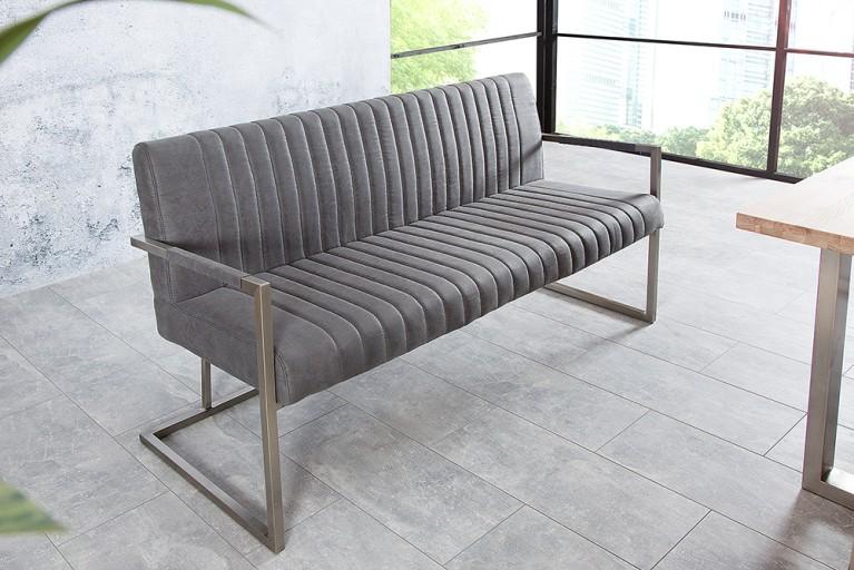 Echt Edelstahl Sitzbank BIG ASTON vintage grau 160cm Industrie Design