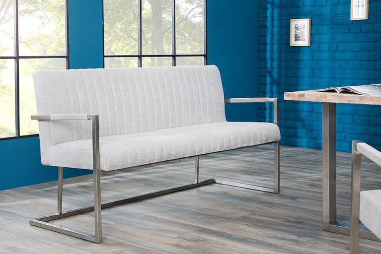 Echt Edelstahl Sitzbank BIG ASTON stone grau 160cm Industrie Design