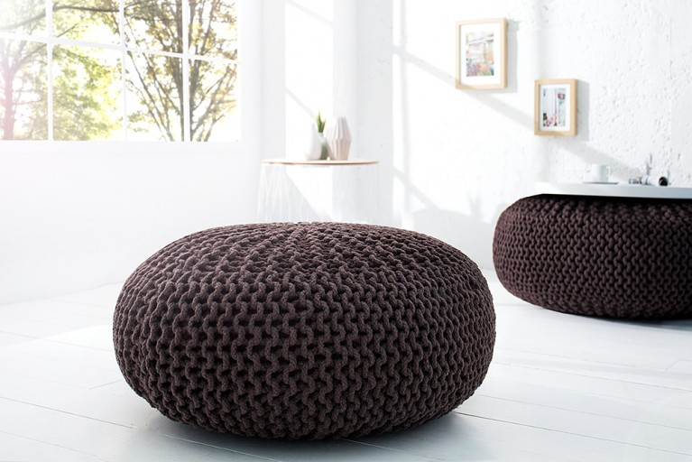 Design Strick Pouf LEEDS XXL dark coffee 70cm Hocker Baumwolle in Handarbeit Sitzkissen