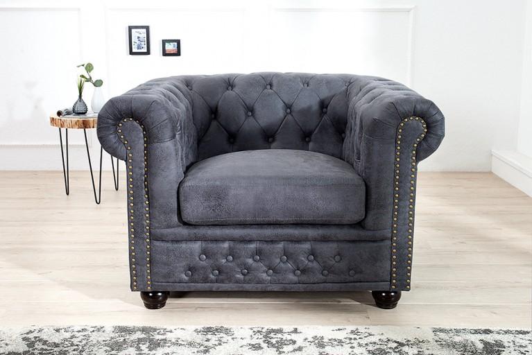 Edler Chesterfield Sessel Antik Grau mit Knopfheftung und Nietenbesatz Polstersessel