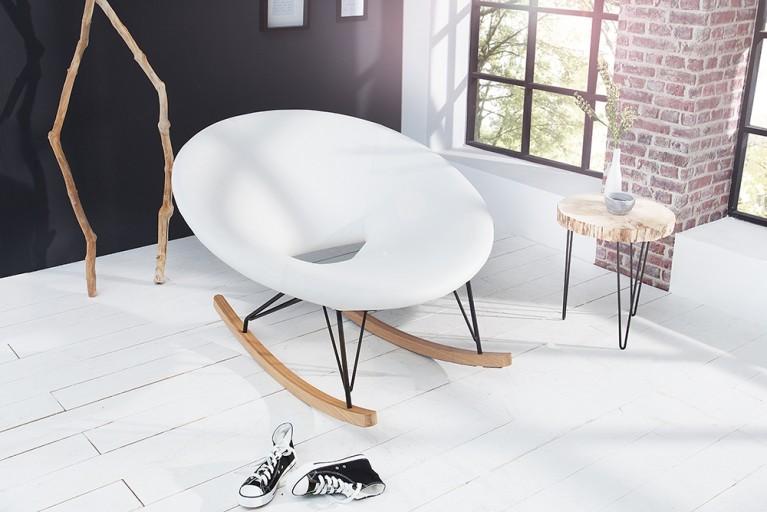 Moderner XXL Design Schaukelstuhl FLOATING weiß Eiche Relaxsessel