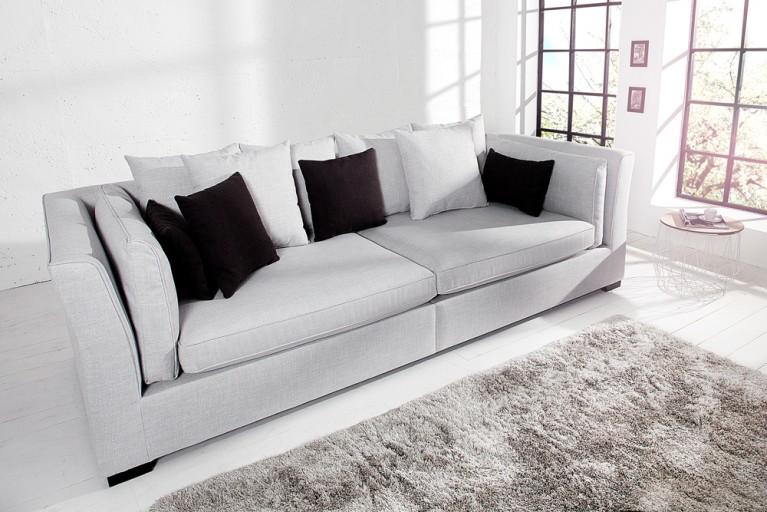 Elegantes Big Sofa FEELINGS grau Federkern inkl. Kissen im modernen Landhausstil