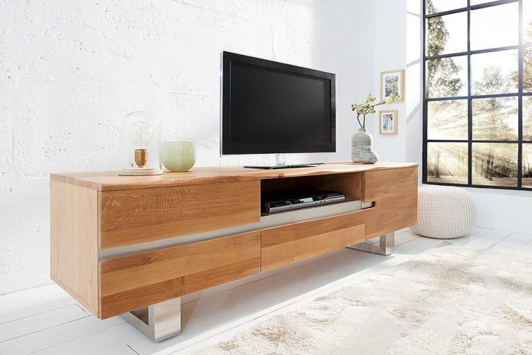 Massives Baumstamm TV Board GENESIS 160cm Eiche Lowboard Kufengestell aus Edelstahl