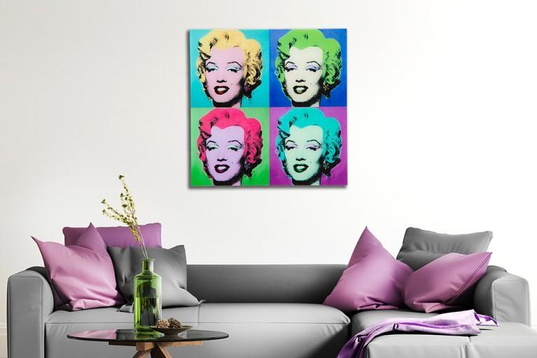 Kultiges Pop Art Bild MARILYN 60x60cm Kunstdruck Wandbild aus Glas
