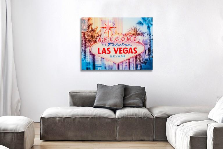 Kultiges Bild LAS VEGAS 60x80cm Design Kunstdruck Wandbild aus Glas