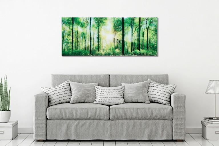 Faszinierendes Bild FORREST 40x100cm Wandbild Glas Wald Kunstdruck