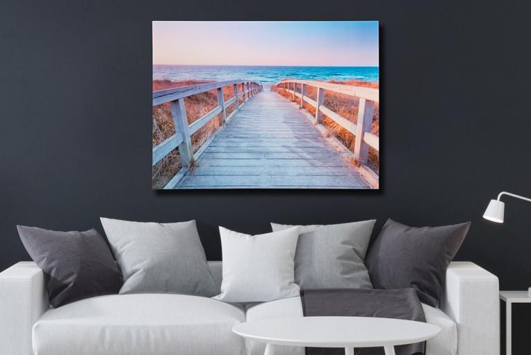 Faszinierender Design Kunstdruck WAY 60x80cm Wandbild aus Glas Strand Horizont
