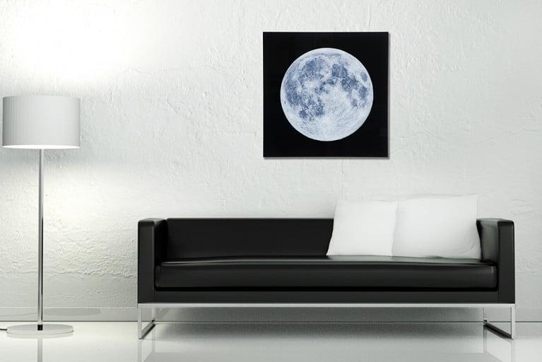 Faszinierendes Bild MOON 60x60cm Glas  Wandbild Mond Kunstdruck