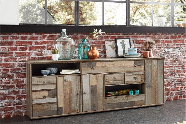 Dekoratives Design Sideboard RIVIERA 195cm Driftwood-Optik Vintage