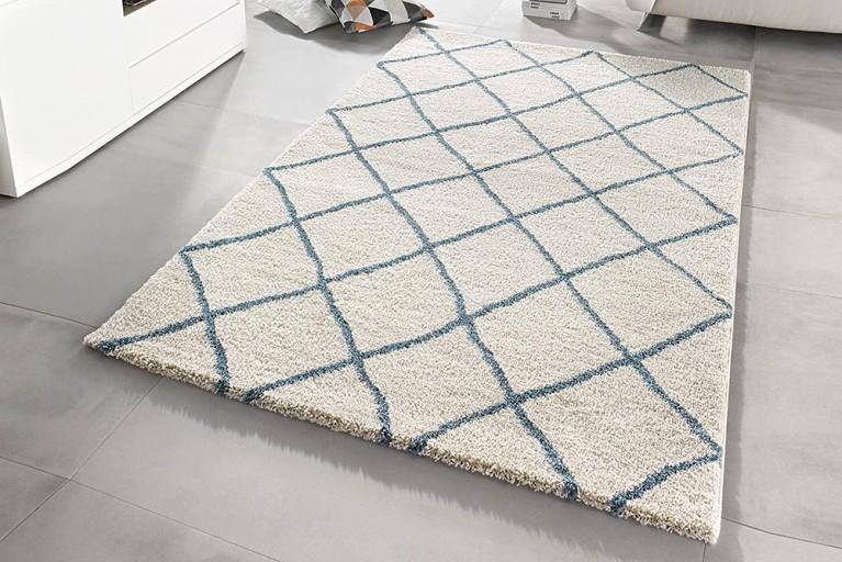 Eleganter Design Hochflor Teppich FEEL 160 x 230 cm creme blau