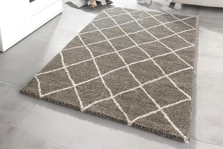 Eleganter Design Hochflor Teppich FEEL 160 x 230 cm taupe creme