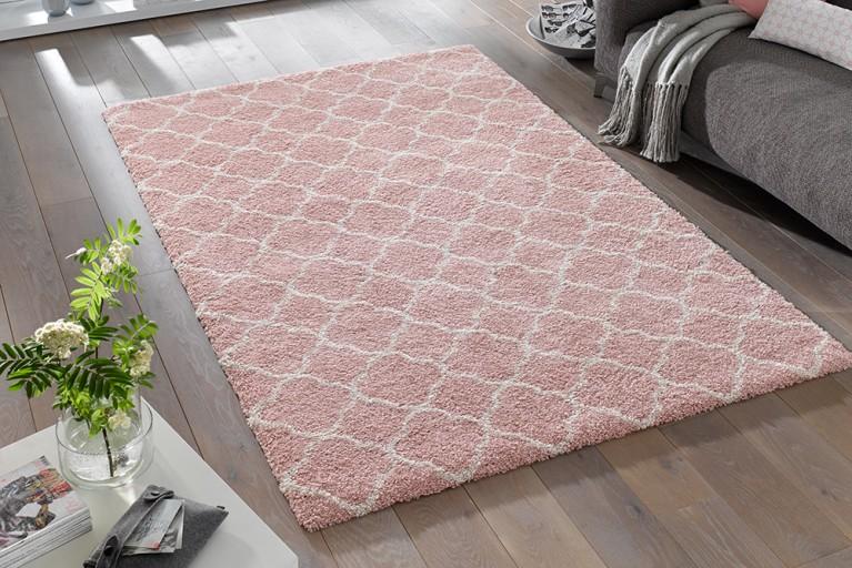 Eleganter Design Hochflor Teppich FEEL 160 x 230 cm koralle creme