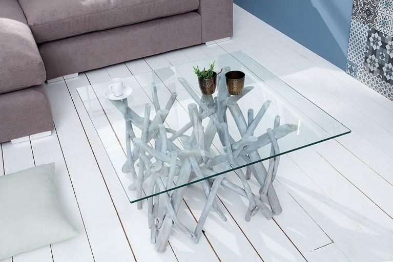 Design Teakholz Couchtisch DRIFTWOOD markant grau mit Glasplatte eckig