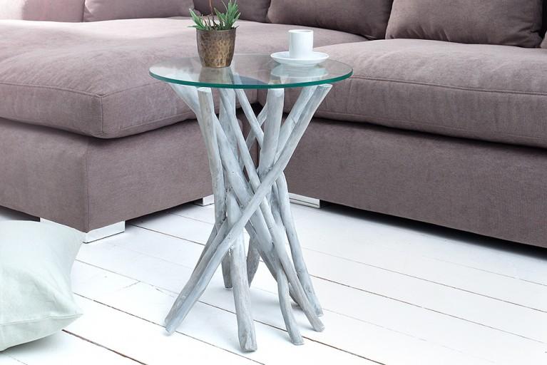 Teakholz Couchtisch DRIFTWOOD markant grau Beistelltisch mit Glasplatte rund