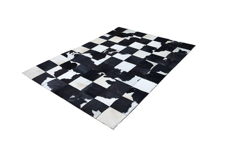 Design Kuhfell Teppich RODEO COLLECTION Patchwork 195cm Schwarz Weiß