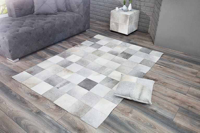 Design Kuhfell Teppich RODEO COLLECTION Patchwork 195cm grau