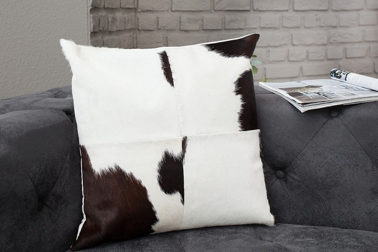 Kultiges Kuhfell Patchwork Kissen RODEO COLLECTION 45x45cm braun weiss
