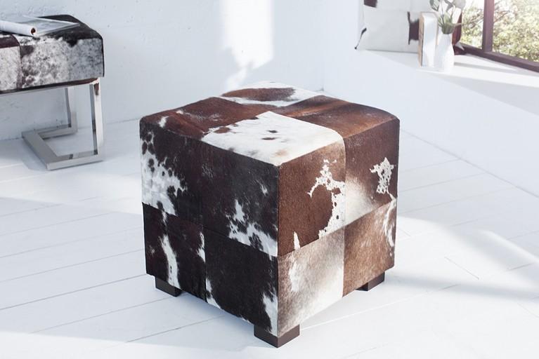 Kultiger Kuhfell Sitzhocker Patchwork RODEO COLLECTION 45cm braun weiß