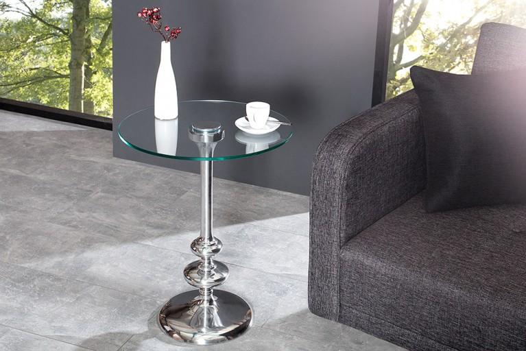 Filigraner Beistelltisch FLUTE rund silber Glasplatte hochwertige Metall-Aluminium-Legierung
