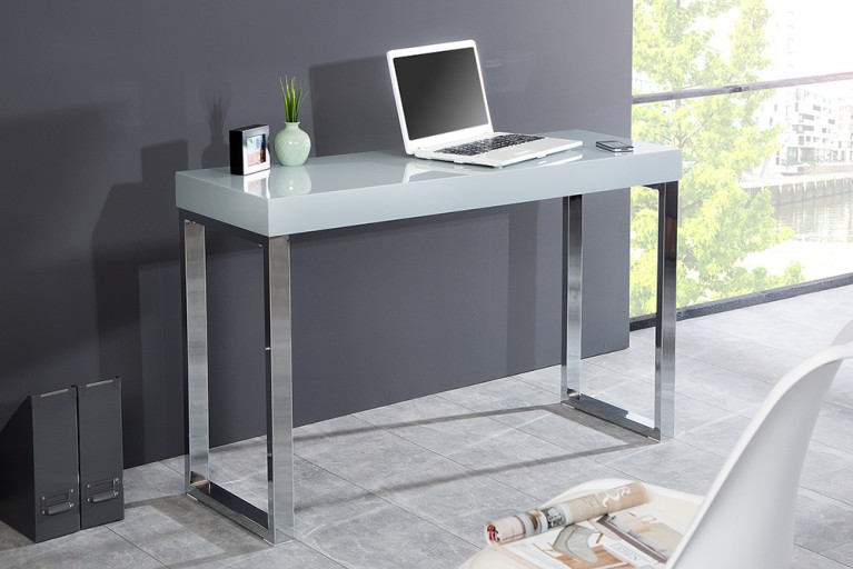 Design Laptoptisch GREY DESK 120cm Hochglanz grau