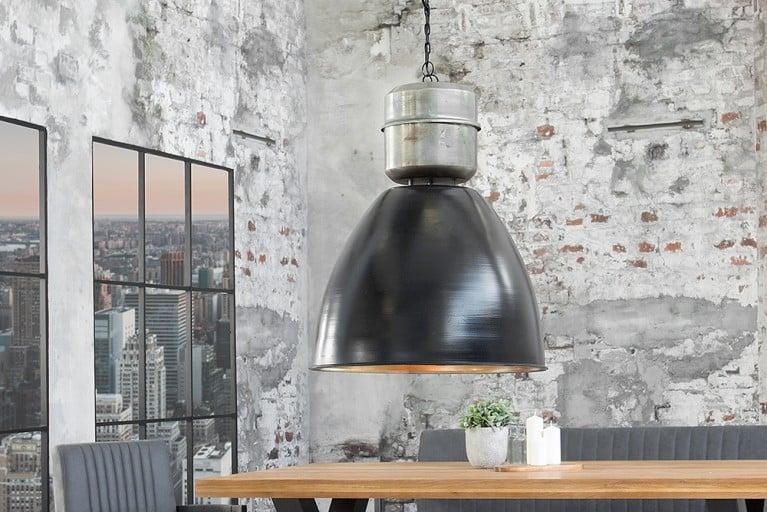 Design Industrie Hängeleuchte FACTORY XL schwarz Nickel Used Look