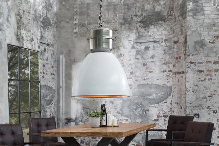 Design Industrie Hängeleuchte FACTORY XL weiß Nickel Used Look