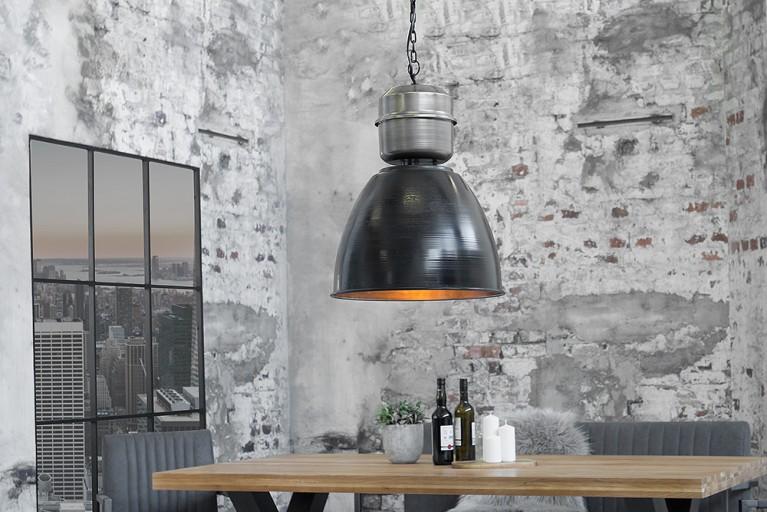 Design Industrie Hängeleuchte FACTORY L schwarz Nickel Used Look