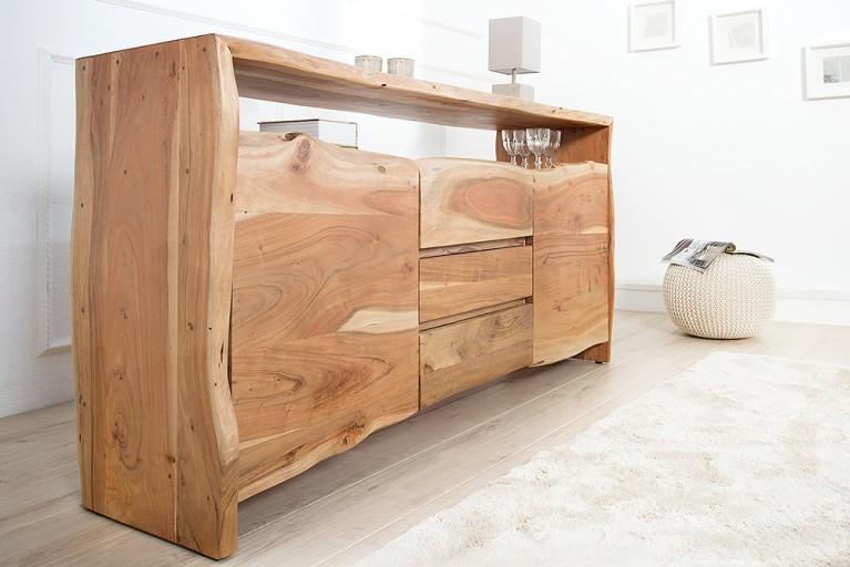 Massives Baumstamm Sideboard MAMMUT II 160cm mit Schubladen Akazie Massivholz