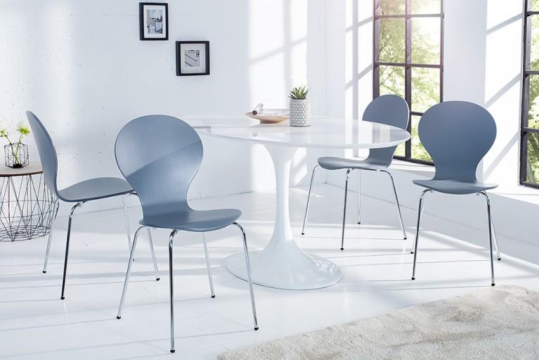 4er Set Stuhl FORM Designklassiker aus hochwertigem Formholz grau stapelbar