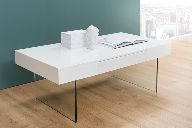 Moderner Design Couchtisch FLOATING 110cm weiß Hochglanz Glas Komposition inkl Schublade