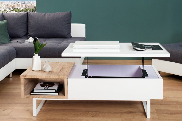 Funktionaler Design Couchtisch FABRIC II Hochglanz Sonoma Eiche mit aufklappbaren Tablett