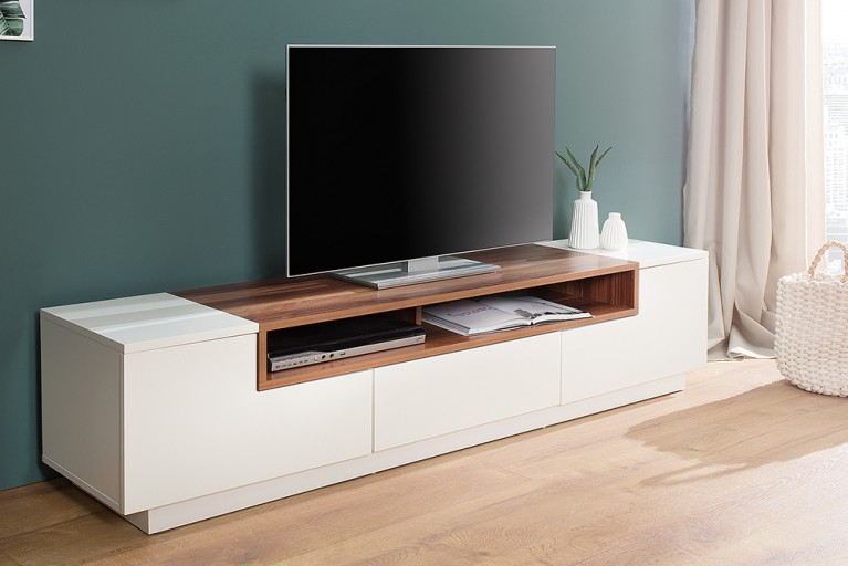 Elegantes TV-Board Lowboard EMPIRE 180cm edelmatt weiß Echtholzfurnier Walnuss