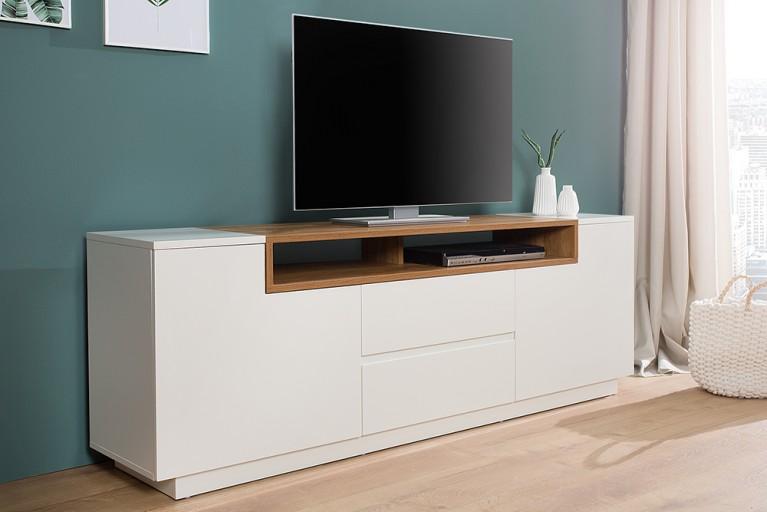 Elegantes Media-TV-Board EMPIRE 180cm edelmatt weiß Echtholzfurnier Eiche