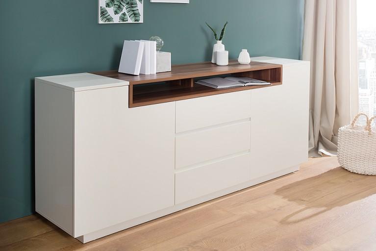 Elegantes Sideboard EMPIRE 180cm edelmatt weiß Echtholzfurnier Walnuss