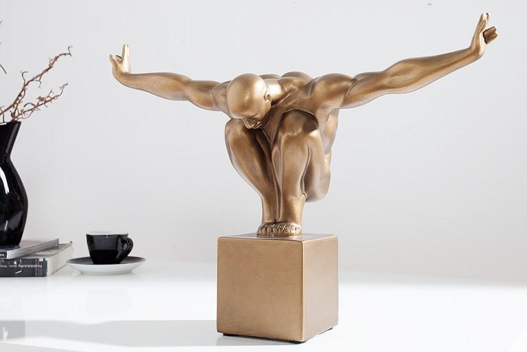 Design Statue ATHLET I 45cm kupfer Dekofigur Sportler