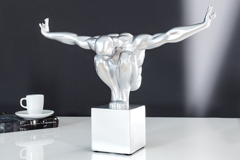 Design Statue ATHLET I 45cm silber Dekofigur Sportler