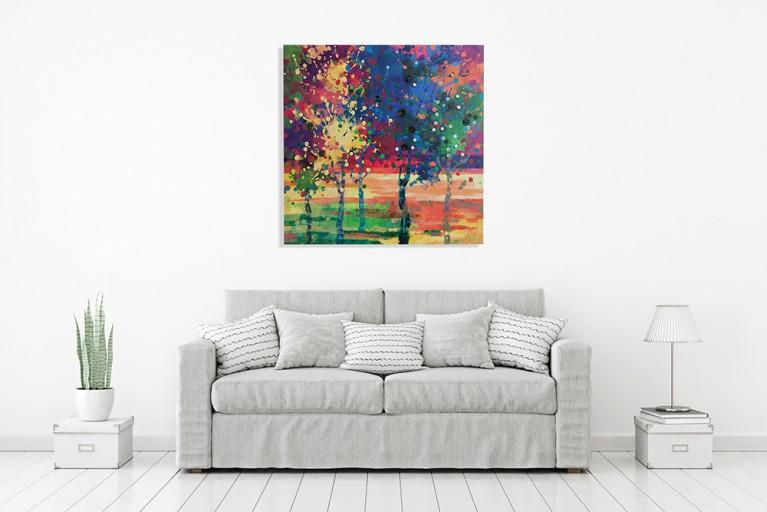 Handgemaltes Bild BUTTON TREE 60x60cm mit Knöpfen Bäume Ölgemälde