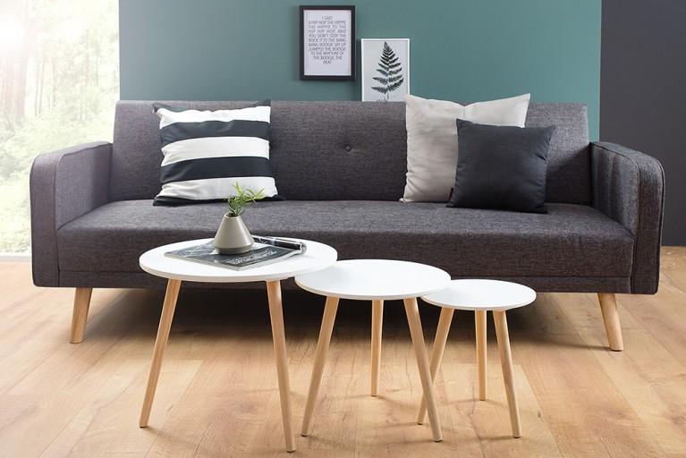 3er Set Beistelltische STOCKHOLM Retro Design weiß Pinie
