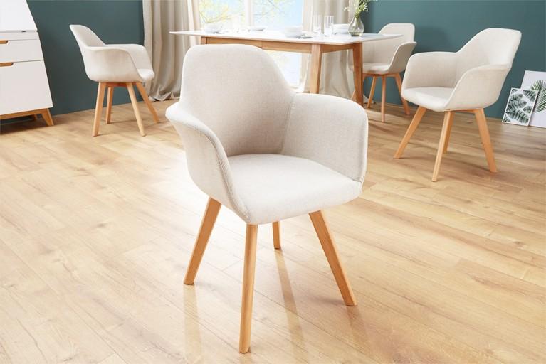 Exklusiver Stuhl KOPENHAGEN mit Armlehne Buche Gestell Strukturstoff beige