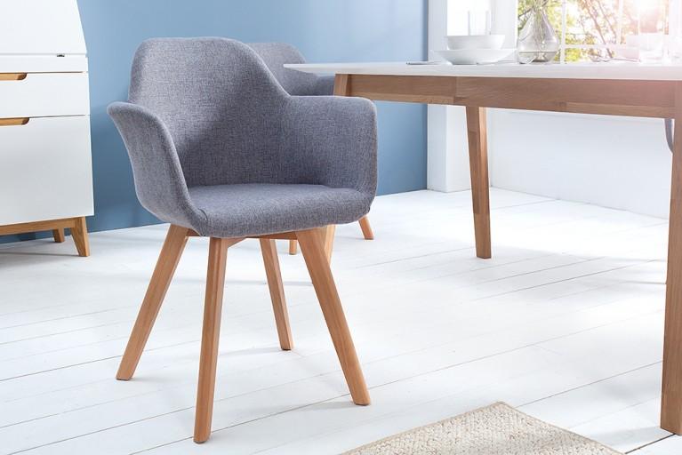 Exklusiver Stuhl KOPENHAGEN mit Armlehne Buche Gestell Strukturstoff grau