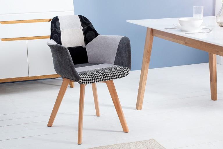 Exklusiver Stuhl KOPENHAGEN mit Armlehne Buche Gestell Patchwork Muster