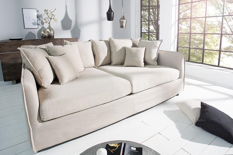 Großes Hussensofa DREAMER 230cm beige Leinenstoff 3er Sofa