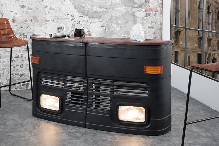 Hausbar Original halbe LKW Front rechts matt schwarz inkl. Lichtanlage Oldtimer
