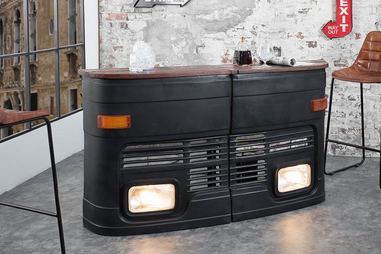 Hausbar Original halbe LKW Front linke Seite matt schwarz inkl. Lichtanlage Oldtimer